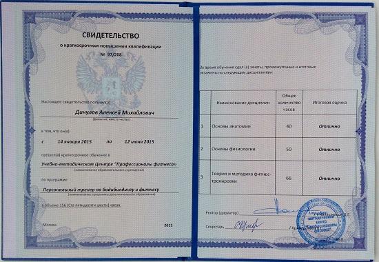 Свидетельство о повышении квалификации FPA. Алексей Динулов