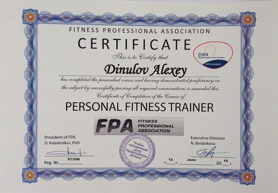 certificate personal fitness trainer fpa.Dinulov Alexey